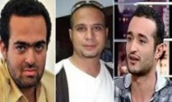 From left to right, photos of faces of Mohamed Adel, Ahmed Maher and Ahmed Douma